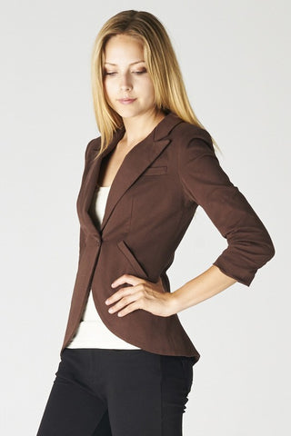 Maya Single Button Three Quarter Sleeve Blazer