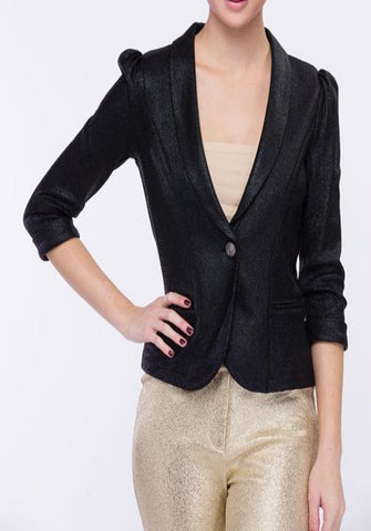 Black Single Button Blazer