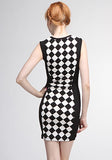 Black And White Checkered Bodycon Dress