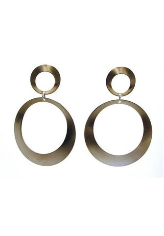Brushed Silver Double Hoop Earrings