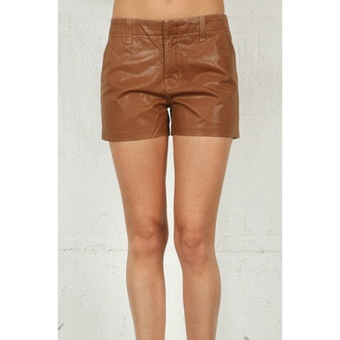 Lola Tan Coated High Rise Shorts