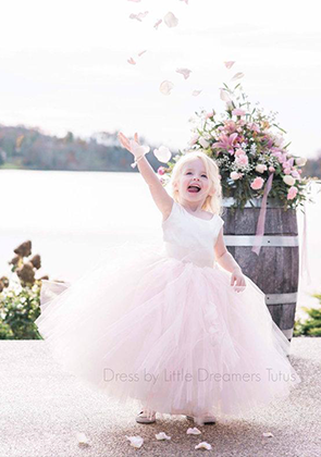 The Juliet Dress: Ivory Satin Bodice with Ivory/Pink Tulle