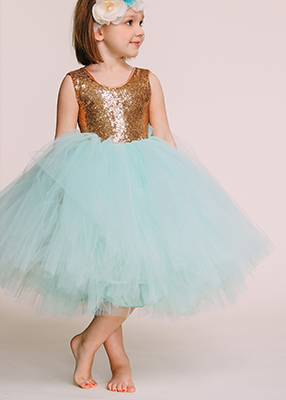 The Juliet Dress: Gold Sequin Bodice and Mint Tulle