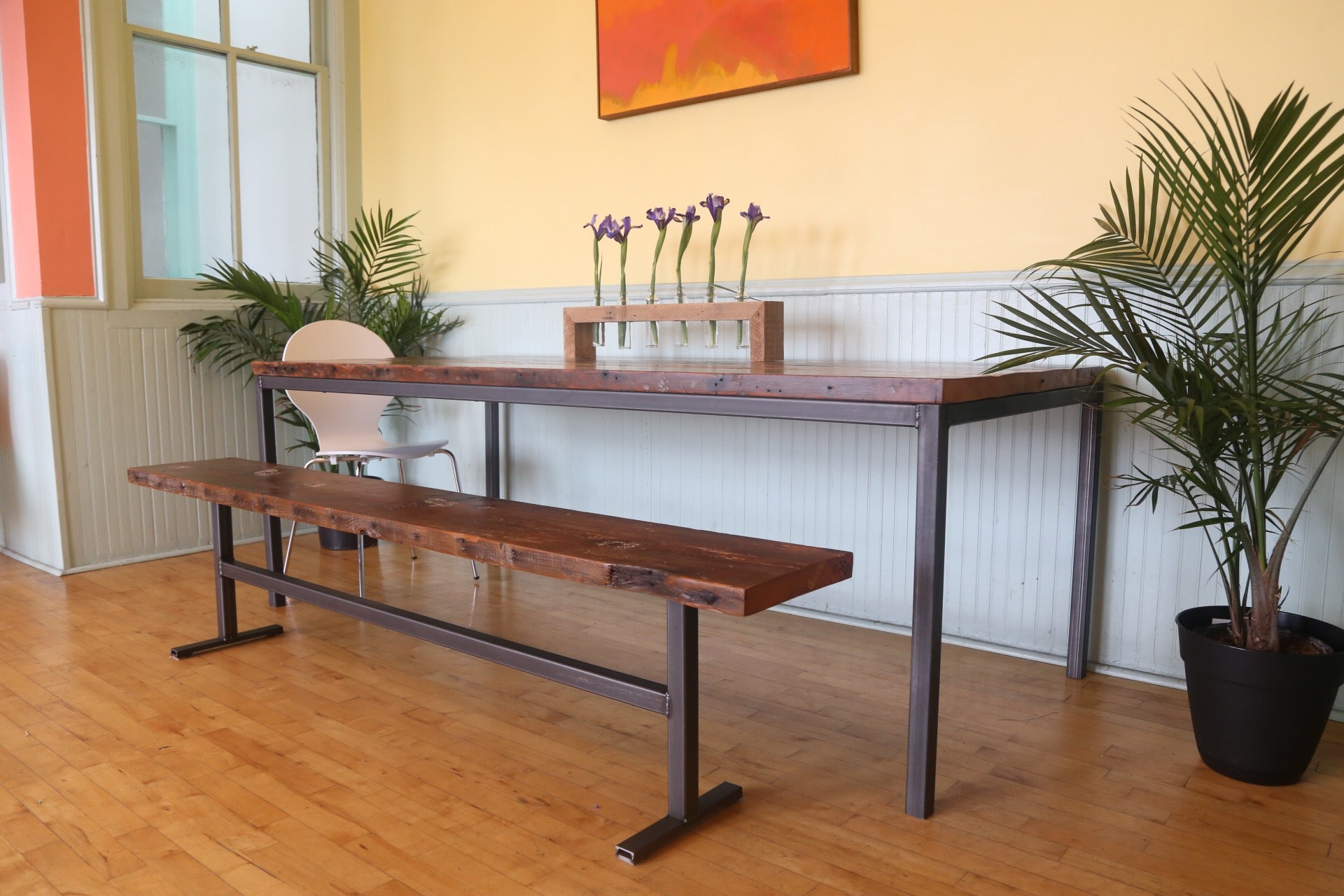 vault furniture dining table , reclaimed wood and steel dining table