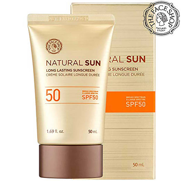 THEFACESHOP Natural Sun Long Lasting Sunscreen Broad Spectrum SPF 50 UVB Protection
