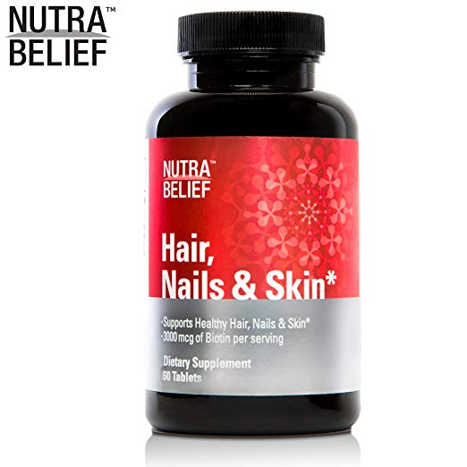NutraBelief Daily Biotin B7 Vitamin Pills, Boosts Natural Hair Growth and Volume & Promotes Stronger Nails and Healthy Skin - 3000 mcg - 60 Tablets