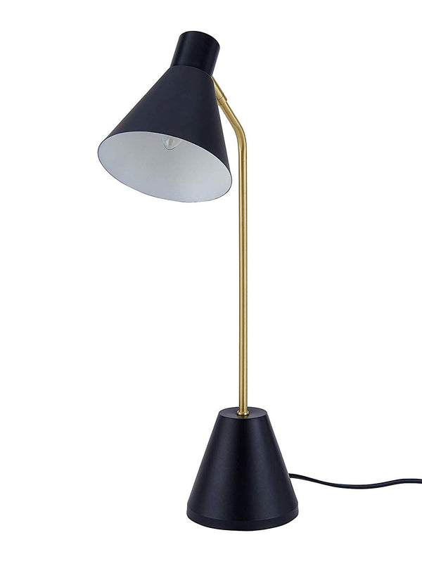 Archiology Nova Desk Lamp, Brass Plated Table Light with Satin Black Lampshade, Simple Fixture for Reading and Bedrooms, 22""
