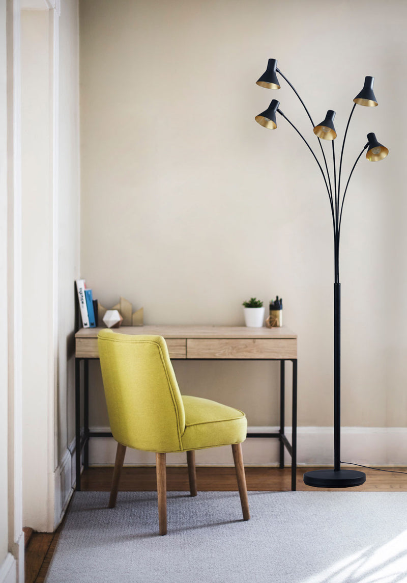 [Archiology] Steel Cone Floor Lamp, Modern Light for Living Rooms Office, Several Directable Lights with Black Gold Shades, 81""