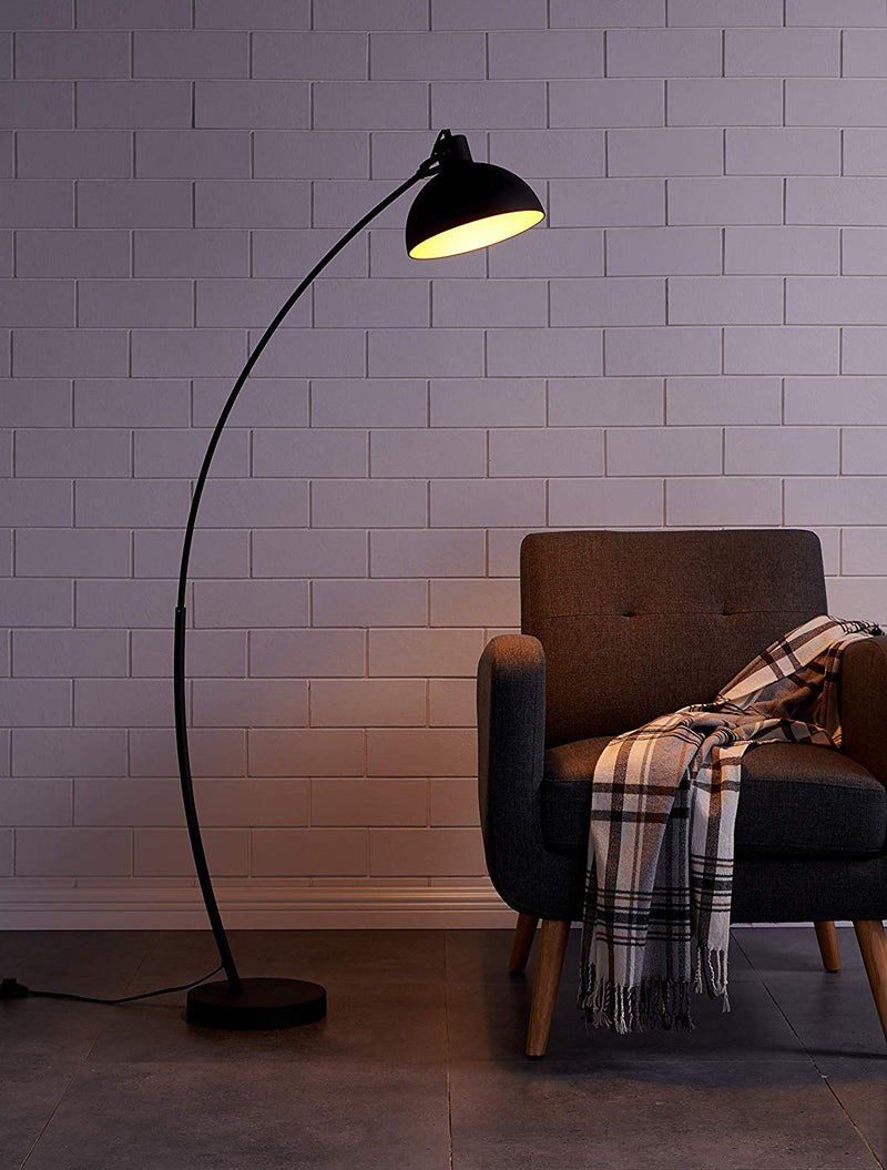 [Archiology] Arc Floor Lamp for Living Room Steel Lamp with Black and Gold Shade, 61""