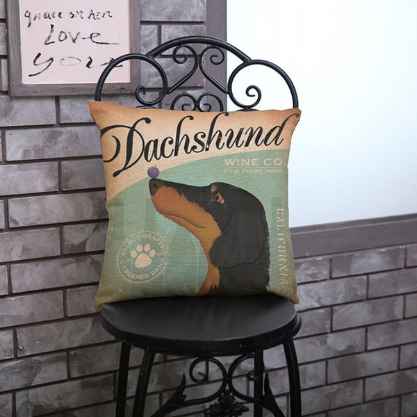 Vintage Dachshund Throw Pillow Cover