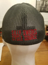 Silly Swedes Cycle Source Mesh fitted Hat- BLACK front GRAY mesh- Red writing on back