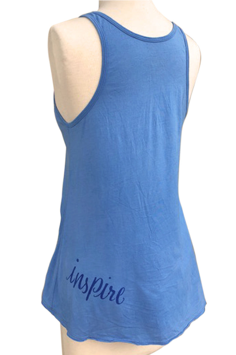 HAPPINESS PRINTED COTTON RACER BACK TUNIC TANK