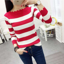 Ladies Long Sleeve Winter Sweater Striped,, style flaire clothing fashion and gifts