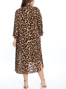 Maternity Long Cardigan in Leopard Print