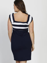 Maternity Fitted Stripe Cotton Dress - Dark Blue