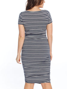 Body Hugging Short Sleeve Maternity Dress - Black Polkadots/ Navy Stripes