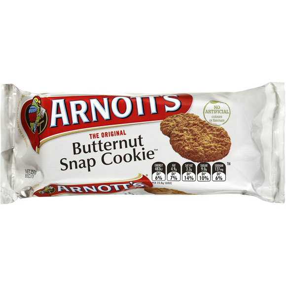 ARNOTT'S BUTTERNUT SNAP COOKIE 250G X 20