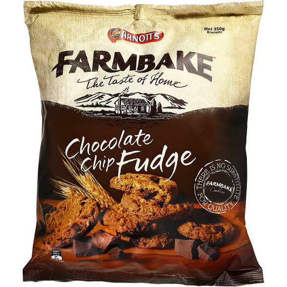 ARNOTT'S FARMBAKE CHOC CHIP FUDGE 350G X 12