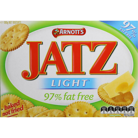 ARNOTT'S JATZ LIGHT 97% FAT FREE 180G X 20