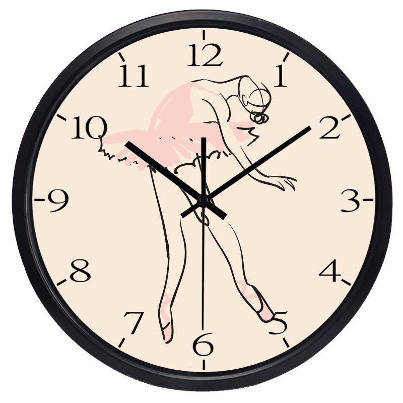 reloj de pared bailarina con borde negro