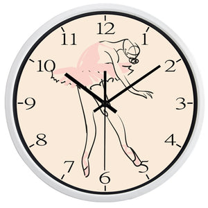 reloj de pared bailarina con borde blanco