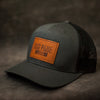 Charcoal Leather Patch Trucker Hat for Family Reunions - Ox & Pine Leather Goods