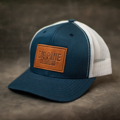 Navy and Blue Leather Patch Trucker Hat for Family Reunion - Ox & Pine Leather Goods