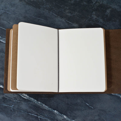 Personalized Refillable Snap Leather Journal - Inside view of notebooks and elastic - Ox & Pine