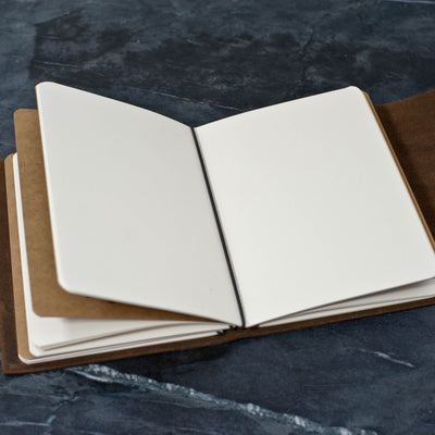 Personalized Refillable Wrap Leather Journal - Inside with notebooks in and view of elastic - Ox & Pine