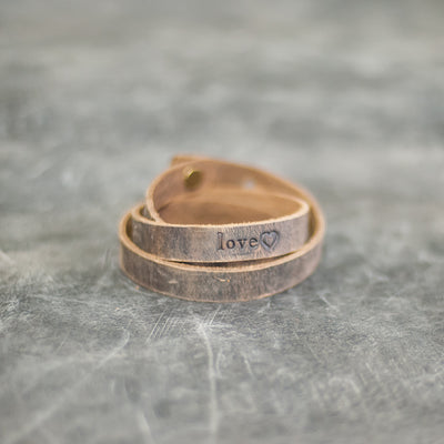 Personalized Leather Triple Wrap Bracelet - Rustic Brown - Ox & Pine
