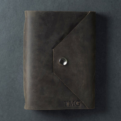 Personalized Refillable Snap Leather Journal - Rustic Brown - Ox & Pine