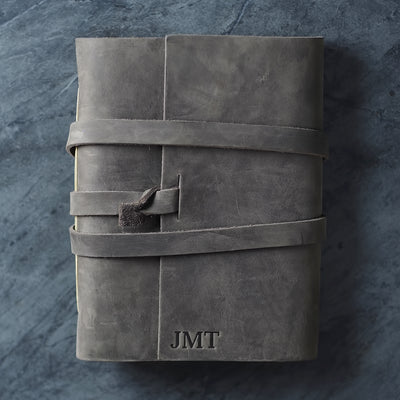 Personalized Leather Wrap Journal - Rustic Gray - Ox & Pine
