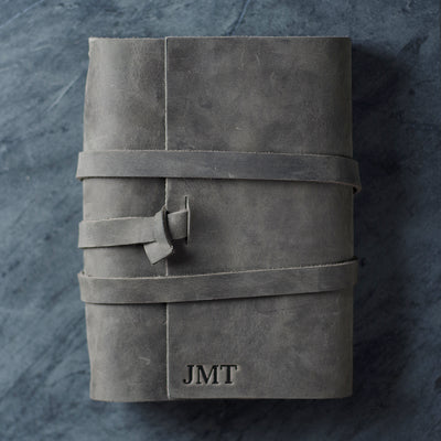 Personalized Refillable Wrap Leather Journal - Rustic Gray - Ox & Pine