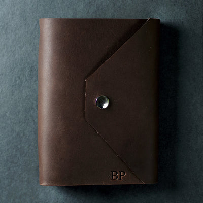 Personalized Refillable Snap Leather Journal - Dark Brown - Ox & Pine