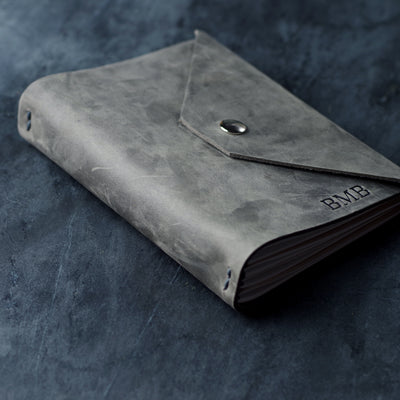 Personalized Refillable Snap Leather Journal - Rustic Gray - Ox & Pine