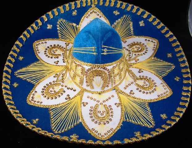 Luxury Mexican Sombrero Hats-Mexican Sombreros-Baby Blue & Gold-Hammock Heaven
