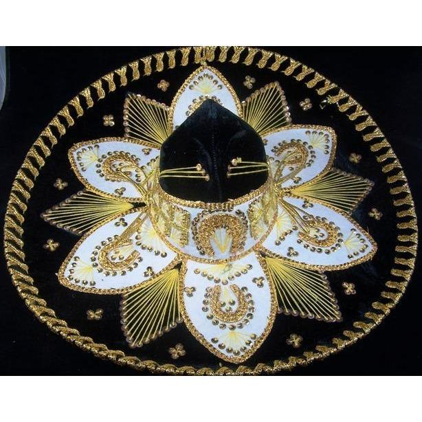 Luxury Mexican Sombrero Hats-Mexican Sombreros-black & Gold-Hammock Heaven