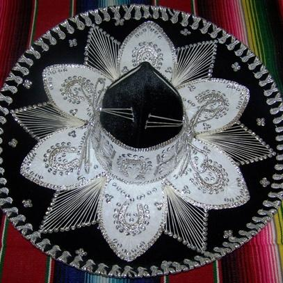 Luxury Mexican Sombrero Hats-Mexican Sombreros-Black & Silver-Hammock Heaven