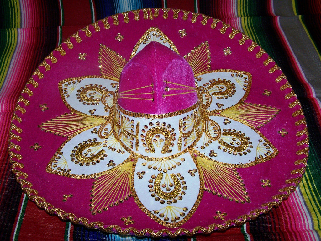 Luxury Mexican Sombrero Hats-Mexican Sombreros-Pink & Gold-Hammock Heaven