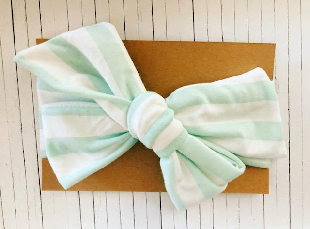 WHITE AND LIGHT BLUE BOW