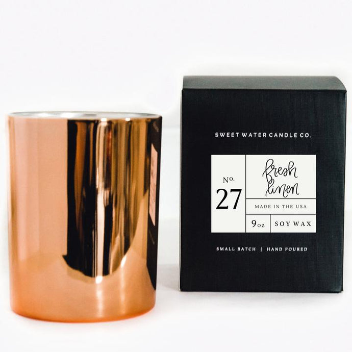 ROSE GOLD FRESH LINEN SOY CANDLE