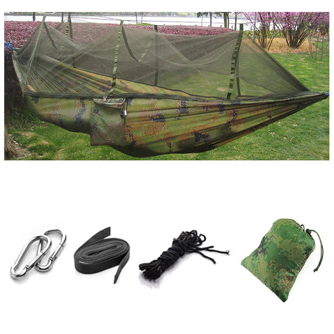 Two Person Outdoor Camping Tent Hanging Hammock Bed with Mosquito Net in Camouflage