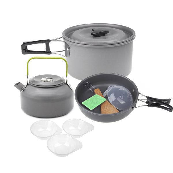 Aluminum Oxide Outdoor Camping Pot Set Hiking Backpacking Cookout Picnic Cookware Teapot Coffee Kettle Set All in One 2-3 People