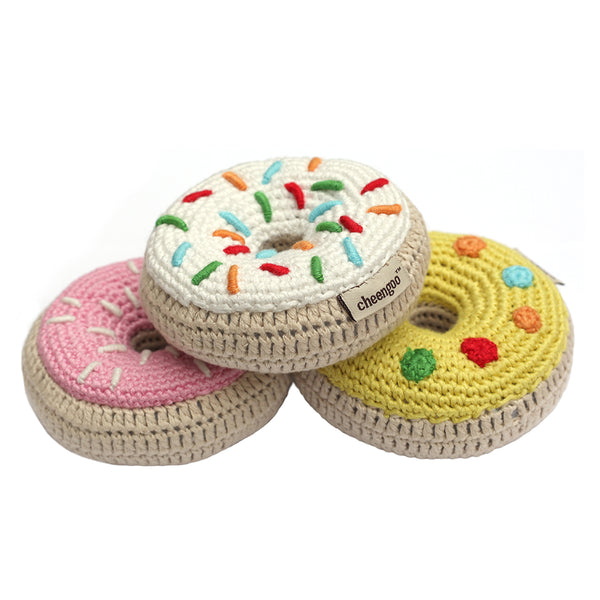 Crocheted Donut Rattle Set - pink, yellow and white