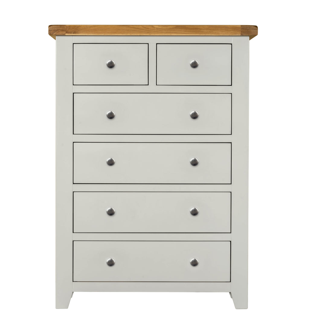 Cambridge Grey Painted Oak 2 Over 4 Chest Of Drawers - Cambridge - HomePlus Furniture