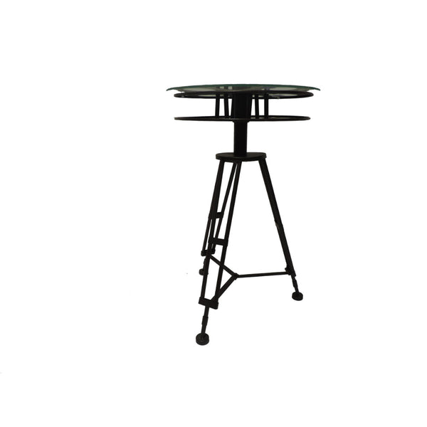 Tripod Base Metal Accent Table With Glass Top, Black and Clear