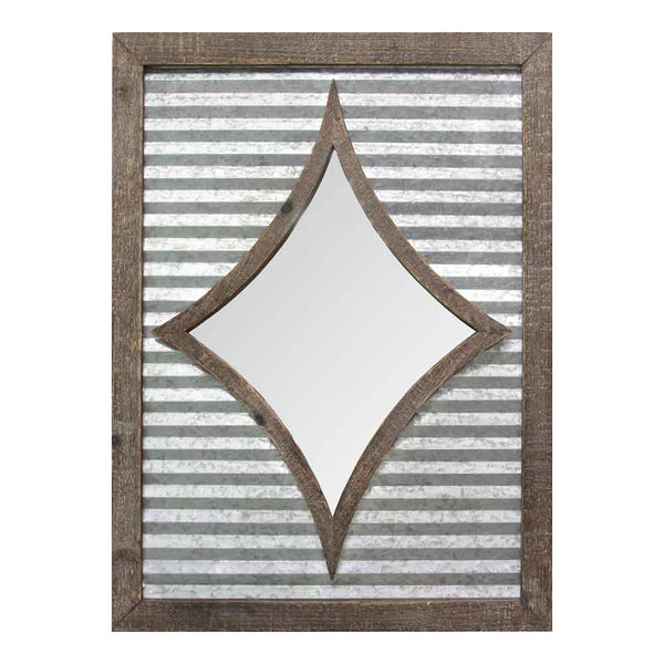 Stratton Home Decorative Joanna Wall Mirror - Galvanized Metal, Natural Wood