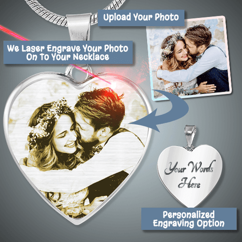 """Heart's Desire"" Photo Etched Luxury Heart Necklace"