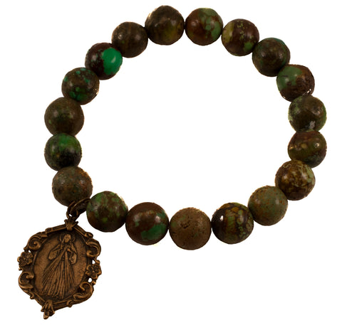 Natural Green Turquoise Divine Mercy Bracelet