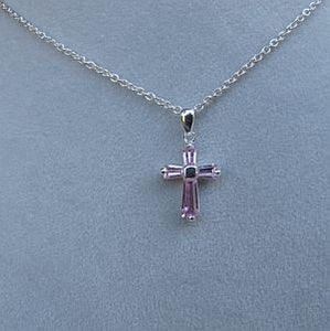 Pink sterling cross necklace
